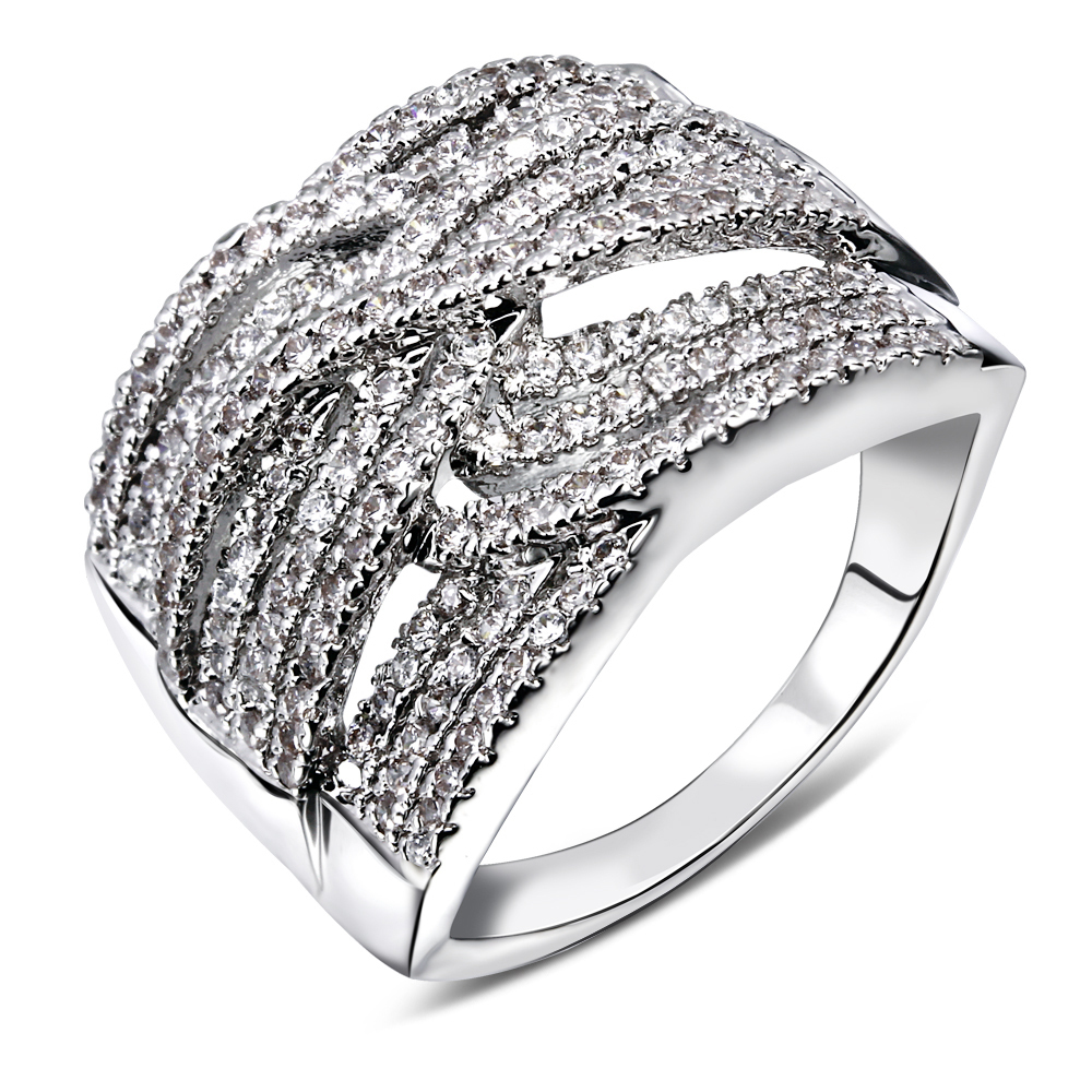Fashion Ring Unique Weave Shaped White Gold Color CZ Full Paved Cocktail Rings for Womens Fashion jewellery Party Rings