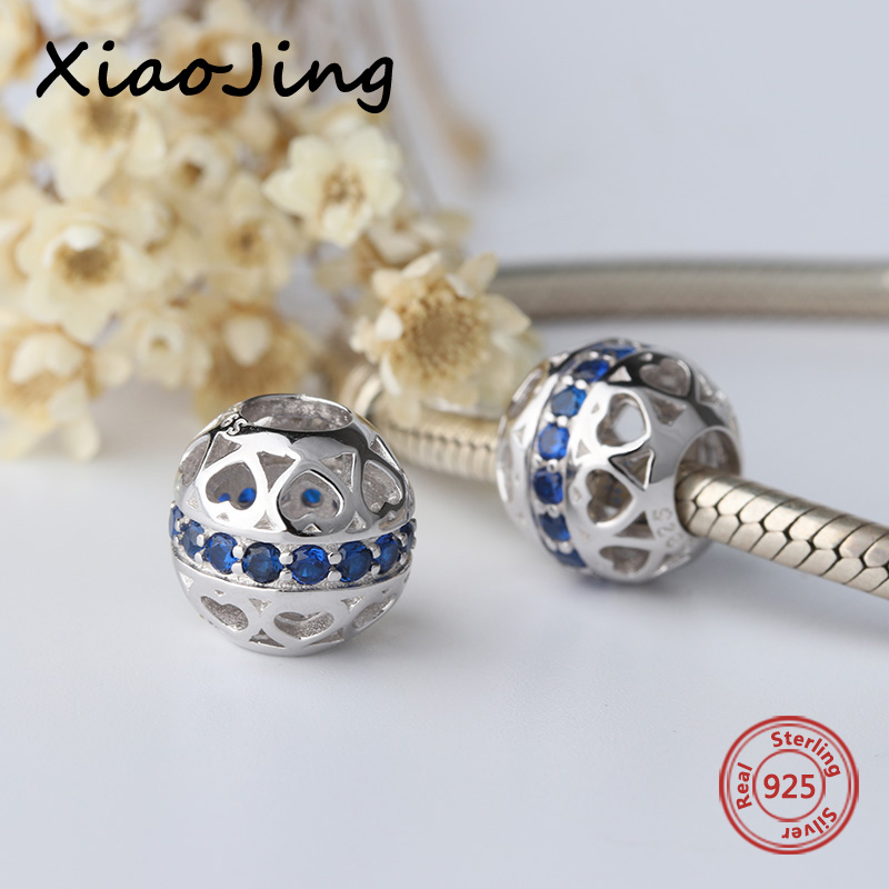 New arrival 925 Silver charms romantic Beads with blue CZ Fit original Pandora Bracelets Pendant diy Jewelry making women Gifts